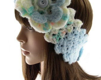 Robin's Egg Blue and Mint Green Head Warmer with Flower, Crochet Ear Warmer, Women's Head Band, Buttoned Head Wrap, HW139-01