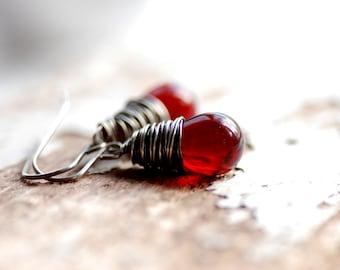 Garnet Red Earrings, Christmas Jewelry, Christmas Wedding, Jewel Tone Wedding, Dark Red Glass Earrings, January Birthstone, Gothic Jewelry