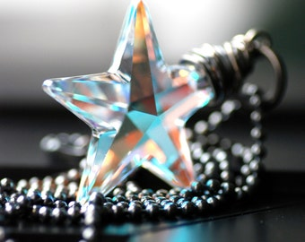 Crystal Star Necklace, Pendant Necklace, Xmas Jewelry, Star Pendant, Winter Jewely, Celestial Jewelry, Northern Lights - Make a Wish