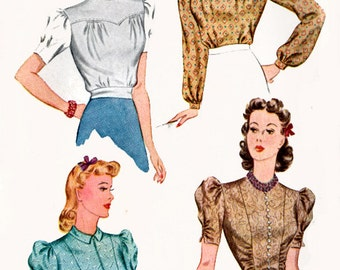 1940s Tunic & Peplum Blouses w/ Fitted Waistline Simplicity 3367 Womens Stunning Vintage 40s Sewing Pattern Size 14 Bust 32