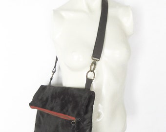 SALE Fold Over tote Bag Black Italian Material Leather Straps