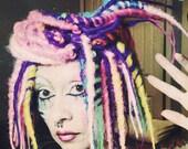 Candy Dreadlock Wig, bright colorful dread locks Big Cosplay Festival Hair, Bohemian Circus Performer,  Crude Things