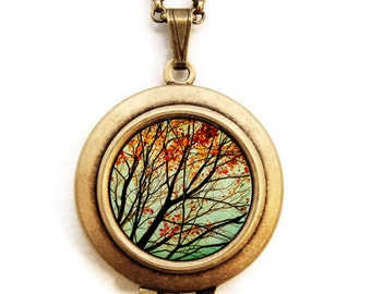 Autumns Alchemy- Fine Art Nature Photo Locket Necklace