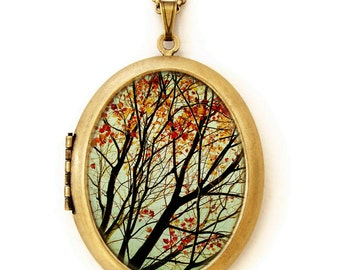 Autumn's Alchemy - Photo Locket - Fall Landscape Nature Tree Wearable Photo Locket Necklace