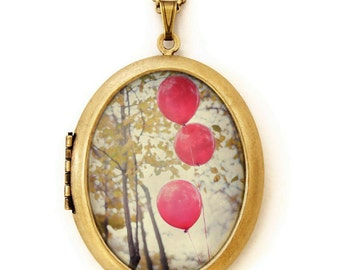 Photo Locket - Can You See The Red Balloons - Magical Red Balloon Grande Photo Locket Necklace