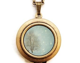 Snow Globe - Photo Locket Necklace - Snowy Winter Wonderland Scene