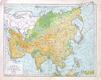 Map of Asia - Physical Map - Antique Map Dated 1888 - World Geography Book Page - 12 x 10