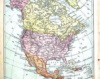 1894 Antique Map - Politcial Map of North America - North America Map - Antique Geography Book Map - 12 x 10