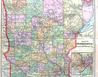 State Map of Minnesota - US State Map - 1901 Antique Map from Cram's World Atlas - 22 x 14