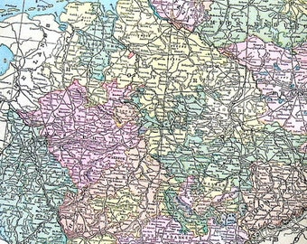 Map of Germany with the Lower Part of Germany - Large 1901 Antique Map - from Cram's World Atlas - 22 x 14