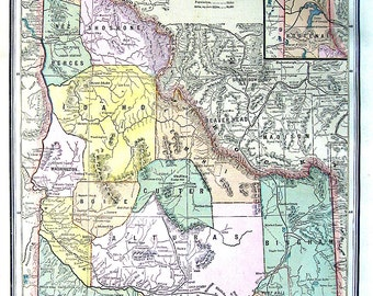 Map of Idaho - US State Map - 1883 Antique Map - Crams'  World Atlas Book Page - 14 x 11
