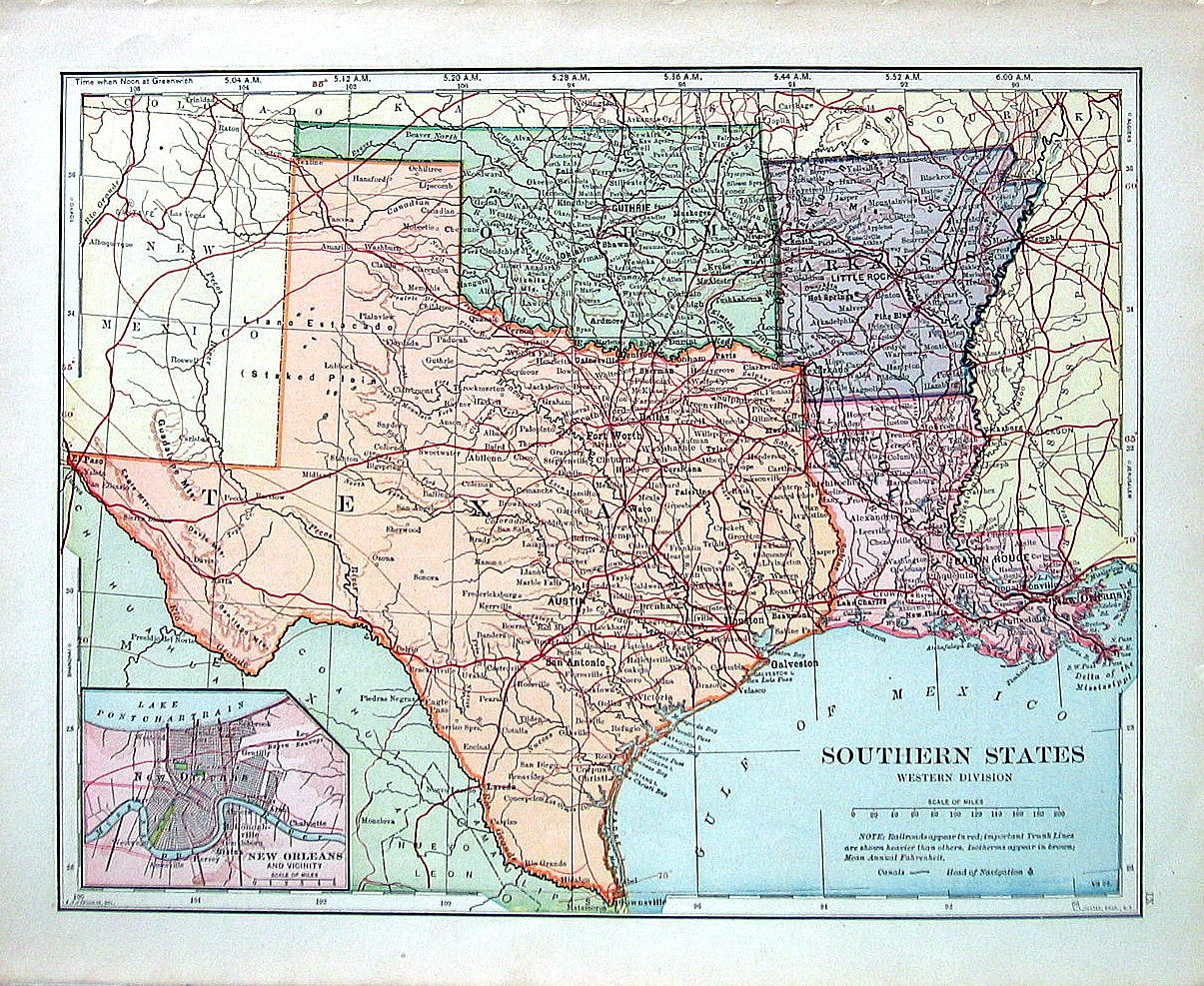 US State Map Southern States Texas Oklahoma Arkansas