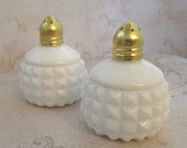 Milk Glass Salt and Pepper, Vintage, 1970s, Diamond point salt and pepper, S and P, hobnail, white glass salt and pepper shaker, brass lid