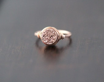 Druzy Ring , Rose Gold Gemstone Quartz , Gilded Handmade Ring in Rose Gold Filled , Wire Wrapped Jewelry