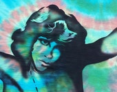 Jim Morrison T-Shirt Airbrushed and Tie Dye Green Orange Turquoise  size X Large