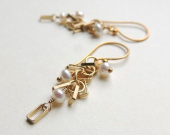 Del Mar Earrings with Faceted White Freshwater Pearl and Matte Gold Geometric Modern Summer Fashion