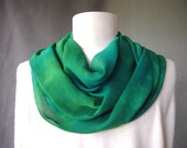 Hand Dyed Silk Scarf - Chiffon - Christmas Greens and Blues - goes great with jeans soft and light very long indigo great holiday gift