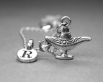 Genie Lamp necklace, Lamp Necklace, Lamp Charm, Make a wish Lamp, Personalized Jewelry, Initial Necklace, initial jewelry, monogram letter