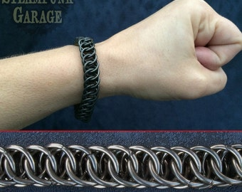 Bracelet - BLACK Steel  Half Persian 4 in 1 - Chainmaille