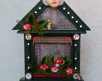 OOAK Handmade Small House Shaped Shrine with Mice