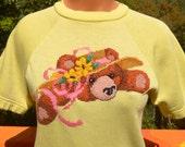 vintage 70s tee shirt TEDDY BEAR short sleeve raglan sweatshirt women's Medium yellow wtf