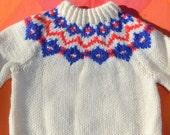 vintage 70s kid's ski sweater FAIR ISLE knit yoke snowflake nordic children's Small Medium