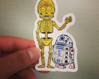 Droid Calaveras Die Cut Vinyl Sticker