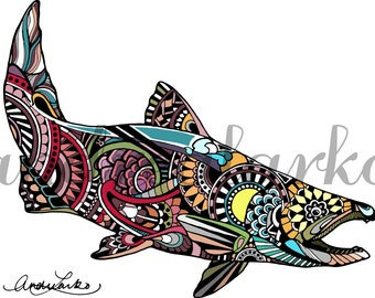 "Zentangle Chinook Salmon Fish Art Print 8.5""x11"""