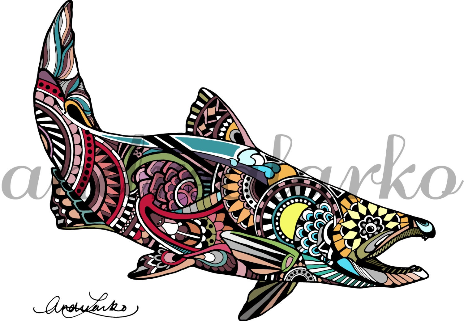 Zentangle Chinook Salmon Fish Art Print 8.5x11