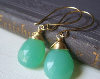 Seafoam Chalcedony Earrings Goldfilled Earwires, Natural Stone Chrysoprase Colored Wirewrapped Gemstone Briolette, Large Teardrop Dangle
