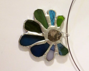 SALE - Stained Glass Pendant with Fossil Centerpiece - Fresh Rain