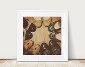 Still LIfe Shoes Photograph, Retro Photo, Quirky Art Print, Square Photo, Modern Home Decor, Vintage Style, Bedroom Decor