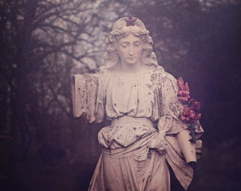 Cemetery Photograph, Statue, Fog, Halloween Decor, Graveyard Photo, Gothic, Dark Art, Winter, Still Life Photography, Surreal, Haunting