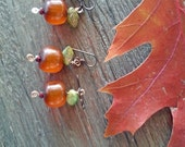 Caramel Apple Earrings - Autumn Harvest Earrings - resin, glass, niobium earwires