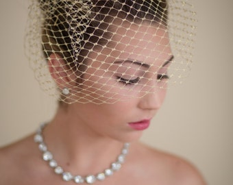 Gold Metallic Small Birdcage Blusher Wedding Veil