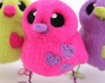 Pink Bird with Purple Hearts Needle Felted Love Bird