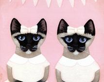 The Siamese Twins - Whimsical Cat Folk Art Print 8x8, 10x10, 12x12
