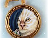 Orange Tabby Cat - Fine Art Print - Round Gold Framed