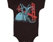 San Francisco Octopus and Golden Gate Bridge - Baby Bodysuit Nautical SF Bay Area California Cephalopod Squid West Coast Jumper Onesie