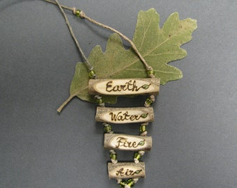 4 Elements Earth Water Fire Air Peridot Bead Hemp Rustic Twig Holly - Ilex sp - Wooden Necklace by Tanja Sova
