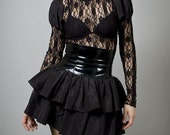Black PVC and Taffeta Skirt-Made to order (Your Size)