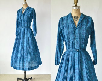 Vintage Blue Floral Day Dress --- Vintage L'Aiglon Dress