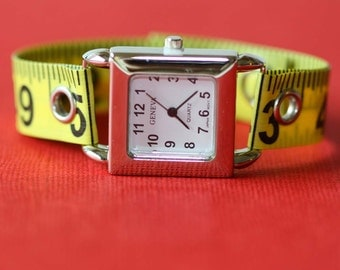 Tape Measure Watch - Square Face - Statement Jewelry created with Upcycled Measuring Tape