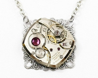 Steampunk Gothic Antiqued Silver Filigree Necklace with Vintage Gruen Watch and Purple Amethyst Swarovski Crystal by Velvet Mechanism