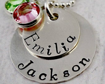 My Loves - Grandma or Mommy Hand Stamped Jewelry - Sterling Silver Personalized Mothers Necklace