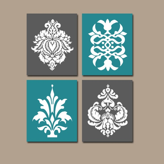 DAMASK Wall Art Teal Charcoal Bedroom Pictures CANVAS By TRMdesign