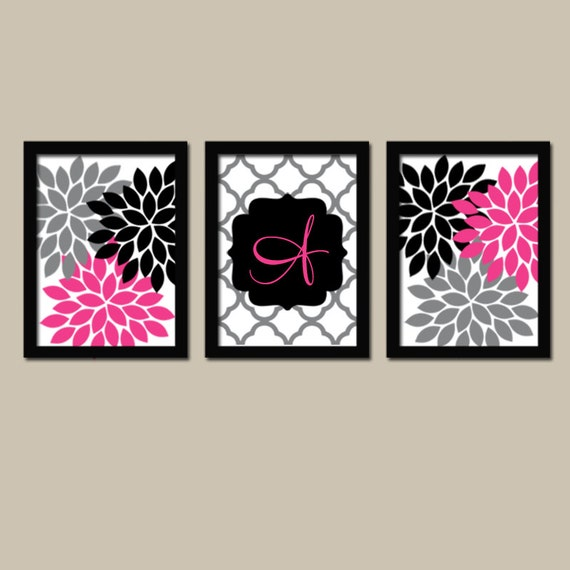 Pink Black Wall Decor : Hot pink black wall art family monogram flower burst last