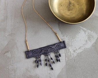 fringe necklace // MARLO // geometric necklace / gray necklace / statement necklace // modern lace, boho necklace / festival necklace