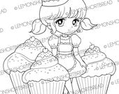 Cupcakes Delight Girl Digital Stamp, Digi stamp, Cute Anime, Desserts Pastry Bakery Colouring Page, Graphic Illustration, Instant Download