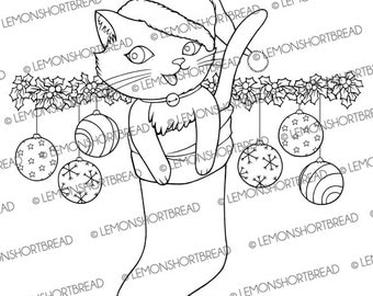 Digital Stamp Christmas Kitty Cat Stocking Digi Download, Merry Xmas, Holly Ornaments, Scrapbooking Supplies, Clip Art, Graphic